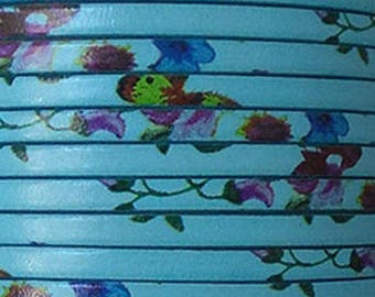 20 cm Leather Strip 5 mm flat turquoise liberty