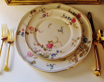 Sunnyvale Dinner Plate by Castleton China, Floral Plate, Romantic Decor, Hollywood Regency, Gilded Rim