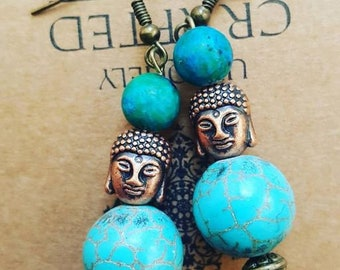 Turquoise Buddha earrings