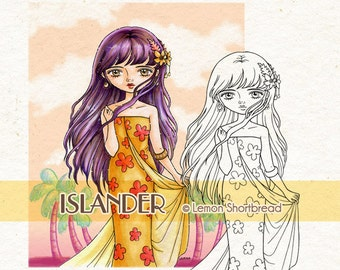 Digital Stamp Summer Tropics Island Flower Girl, Digi Download, Floral, Tropical Fashion, Coloring Page, Scrapbooking Supplies, Clip Art