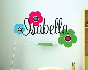 Girls Custom Name Wall Decals // Retro Flowers Decal // Teen Wall Decals // Girls Bedroom Decal // Girls Name Decal