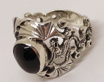 """Vintage Sterling Silver Signed """"MC"""" Black Onyx Dragon Ring Size 12-1/4"""