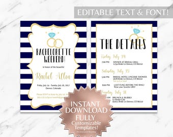 Navy|Gold|Striped|Bachelorette Party Invitation|Printable Bachelorette Party Invitation|Bachelorette Party Itinerary|Template|Customizable