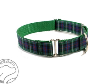 """MacKenzie Tartan Dog Collar / 1"""" (25mm) Wide / Plaid Dog Collar / Quick Side Release or Martingale / Choice of collar style and size"""