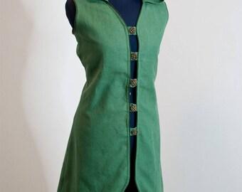 Tunic Vest waistcoat linen green LARP elf elven coat with hood