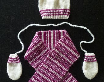 set hat, scarf and mittens knit ivory and raspberry baby size 6 months