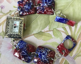 Red White and Blue Copper Enameled Watch