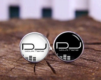 DJ Cufflinks, Personalized Cufflinks, Custom Name, Monogram Cufflinks, DJ Gifts, Custom Wedding Cufflinks, Groom Cufflinks, Tie Clip, Or Set