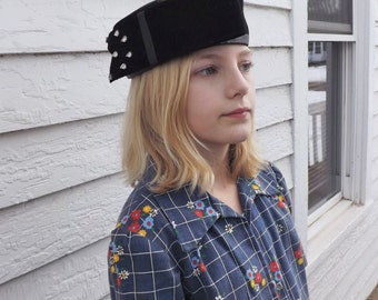 Black Pillbox Hat Retro 80s Vintage Kirsten Randolph 1980s