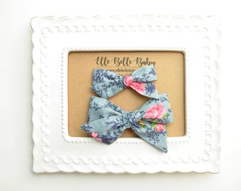 Navy Blue & Hot Pink Floral Schoolgirl Hair Bow - Hand-tied hairbow-Evy bow -Cotton Baby Headband - Newborn Hairbow - Toddler Hair Clip