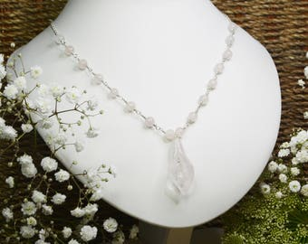Rose Quartz - Cala Lily - 925 Sterling Silver - Chain - Necklace