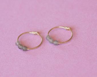 Labradorite hoop earrings