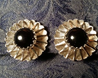 STYLISH Silvertone & Black Clip Earrings by Sarah Coventry VINTAGE