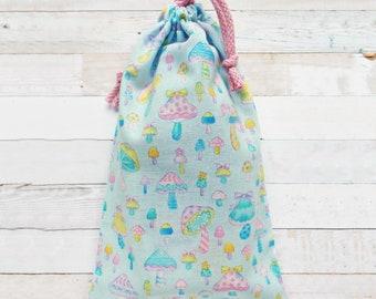 Small Tote Bag Kids Bag Drawstring Pouch Pastel Fairy Kei Bag Japanese Kawaii Mushrooms Pastel Goth Pouch