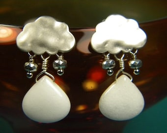 Bright White Jade and Faceted Glass - Rainy Day Earrings