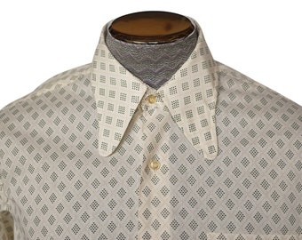 Vintage 1960s Dog Ear Collar Shirt Patterned Cotton Blend Size Large