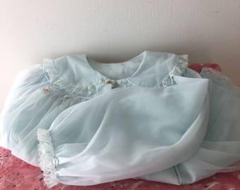 1950's Baby Blue Sheer Bedjacket