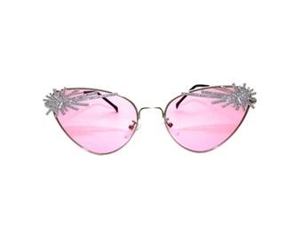 Art Deco Retro Pink Sunglasses - LE FEU