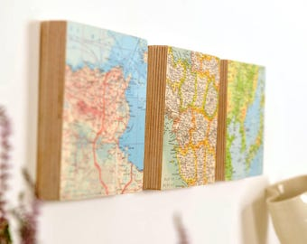 Personalised map wall blocks - wall art - custom art - Map gift - personalized gift for him - Globetrotter gift - world map wall art
