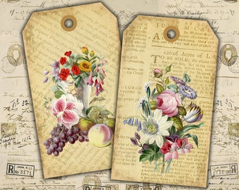 Digital Tags - Digital Collage Sheet - Printable Labels - Best for scrapbook, art projects - SHABBY FLOWERS