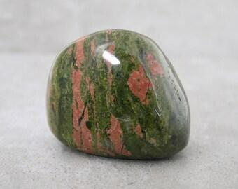 Unakite Polished Stone, Tumbled Unakite Collector Stone, Rockhound Collection Polished Gemstone, Medium Size Display Stone, Palm Stone
