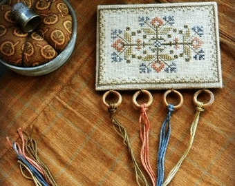Primitive Cross Stitch Pattern - Autumn in Bloom Threadkeep
