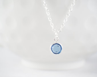 Tiny Birthstone Necklace - Dainty birthstone - Birthday gift - gift for her