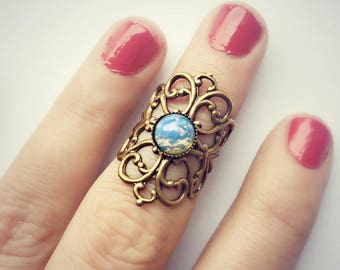opal knuckle ring, blue opal midi ring,  above the knuckle ring, blue opal ring, blue opal jewelry,  antique brass ring, unique ring