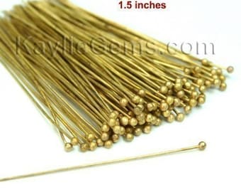 For PEARLs Headpins Ball Tip Head End Raw Brass 38mm 1.5 inches 24 Gauge -50pcs
