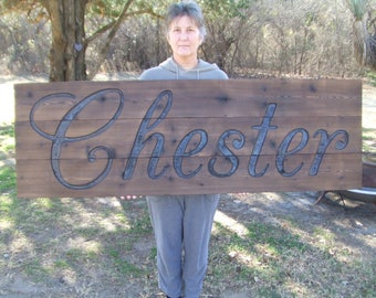 Large CUSTOM Wood sign - - hand carved -- rustic un painted personalized name date -- reclaimed western cedar