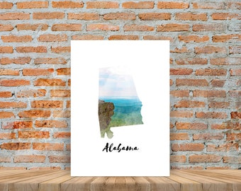 Fine Art Watercolor Map State Posters