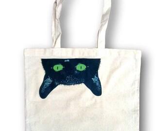 Black Cat Tote, Cat Lover Gift, Gift Idea, Tote, Canvas Handbag Tote,  Weekender Bag, Grocery Bag, Shoulder Bag, Market Bag, Sloclo, Handbag