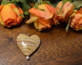 Striped Heart stone Pendant