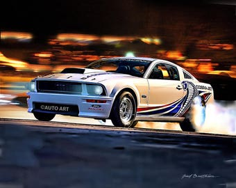 Auto Art, Car Art,  Muscle Car, Ford Mustang Cobra Jet, Auto Art, Hot Rod Art, AA102