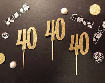 40th Birthday Cupcake Toppers, Birthday Cupcake toppers