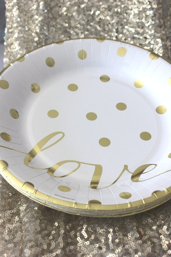 Sale 10 GOLD POLKA DOT Love Small Paper Plates Glam Chic Gold Dots Dotted Bridal Shower Wedding 30th Birthday Party Gold White Dessert 8  from ... & Sale 10 GOLD POLKA DOT Love Small Paper Plates Glam Chic Gold Dots ...