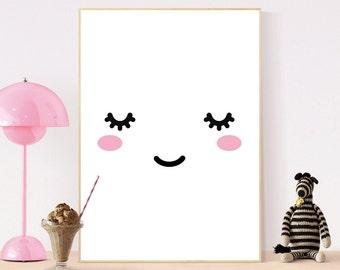 Sleepy Eyes Face, Nursery Print, Cute Wall Art, Children Poster, Kids Bedroom, Printable Art, Digital Prints, White Decor, Instant Download
