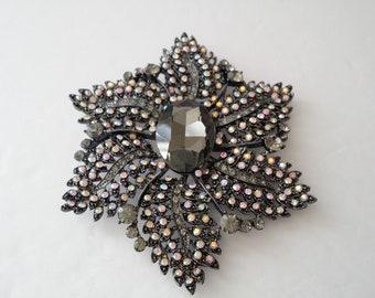 Joan Rivers Gunmetal Large Flower Brooch