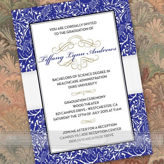 graduation invitations, graduation party invitations, royal blue graduation invitations, Duke graduation, summa cum laude graduation, IN386