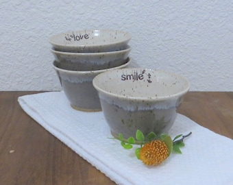 Bowl Set of 4  - Handmade Stoneware Ceramic Pottery - Ash Grey and White - Ginkgo - 12 ounce
