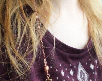 Copper Wire Emerald Hair Chain Jewelry Clip, May Birthstone Summer Hair Wear Copper Green Hair Accessory, Gemstone Hair Chain