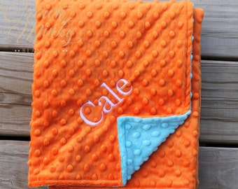 Orange and Turquoise Baby Minky Blanket, Personalized Baby Blanket