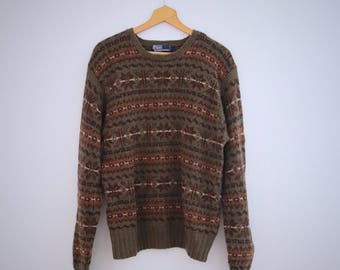 Polo Ralph Lauren Winter Sweater Hand Knit Fairisle Wool Olive Green Mens Vintage XL