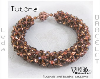 Bracelet Tutorial with Super Duo or Twin beads: Leda Beaded Bracelet and Bangle - Cubic RAW- INSTANT DOWNLOAD pdf