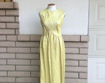 60s 70s Yellow Gold Brocade Maxi Party Dress Sleeveless Full Length Gown Medium