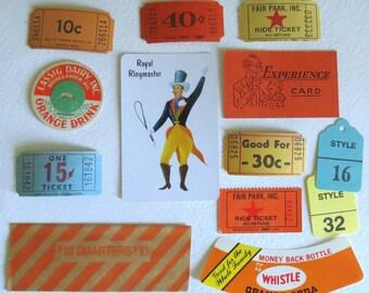 Vintage Carnival Party Favors Packet - Vintage Tickets - Craft Supplies - Ephemera - Mixed Media - Scrapbooking Kit
