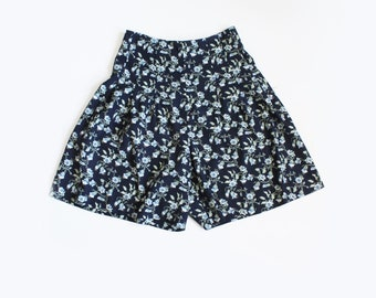 Vintage Navy Blue Floral High Waist Shorts