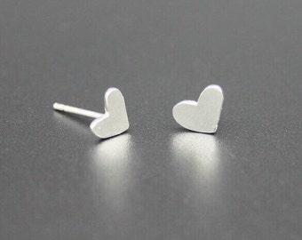 Heart Silver Stud Earrings, Heart Earrings, Little Heart Studs, Heart Stud Earrings, Sterling Silver Heart Stud Earrings, Heart Studs
