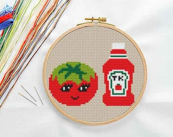PATTERN: Tomato and ketchup cross stitch pattern, Modern Cross Stitch Pattern, Cute Cross Stitch Pattern, Instant Download PDF