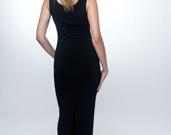 Made to order / Black tank dress / Maxi tank dress / Black long dress / Black maxi dress / Minimalist dress / Casual dress / Tight dress